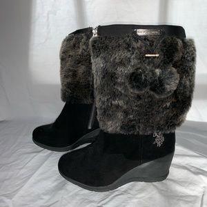 Black, Faux Fur, Wedge Boots